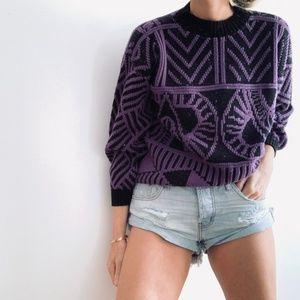 Vintage Patterned Boxy Knit Pullover